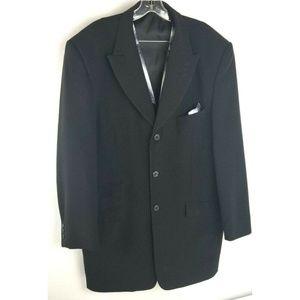 Falcone Black Suit Jacket 3 Button Coat Men Vest